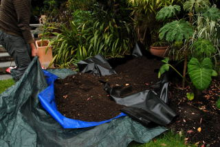 Roll the last of the soil into the hole using the tarpaulin.