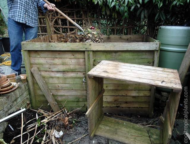 Compost bin contents being turned over