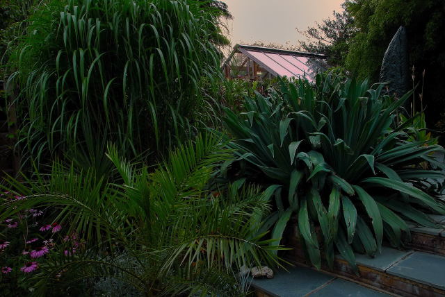 A view of the greenhouse at dusk.