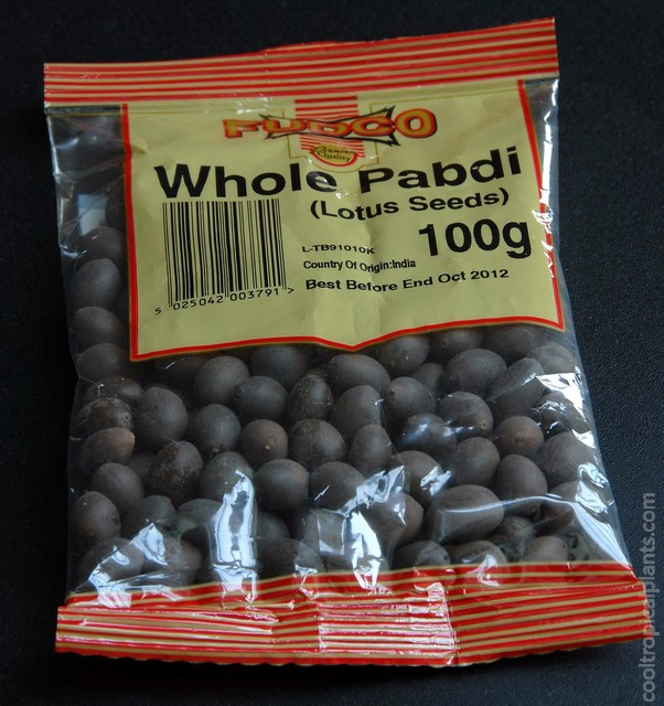 Lotus seeds in retail packaging
