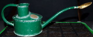 A small watering can with a fine rose attached