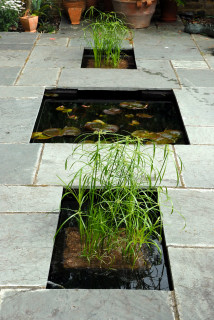 Pond with two planting baskets.